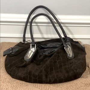 Innue Brown Suede Animal Embossed Leather Purse